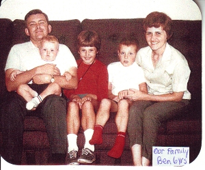 Our family in Lebanon (L to R) Jay holding Johnny (1 yr.), Maureen (8), Ben (6), Carole)