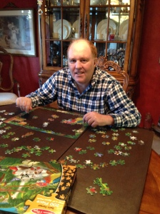 Ben doing his puzzle while at home.  He loves working puzzles!