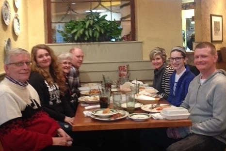 All the Scott family at the Olive Garden Christmas Eve--2014
